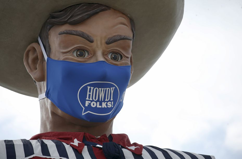 Despite a canceled State Fair of Texas in 2020, Big Tex was set up, wearing a mask. In 2021, he won't be wearing it.