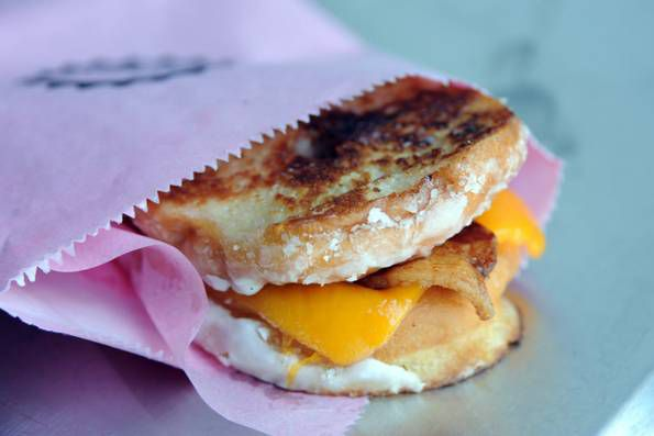 Glazed Donut Works' put pastries on a grilled cheese sandwich.
