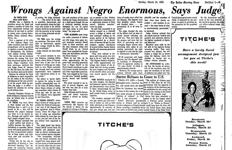 Snip of March 21, 1965 published in The Dallas Morning News.