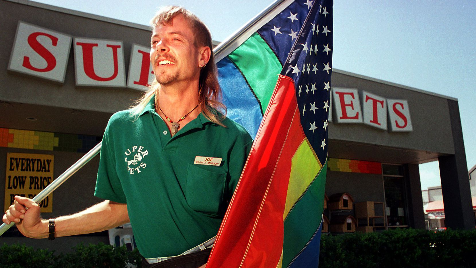 Joe Maldonado-Passage — then known as Joe Schreibvogel — said city officials in Arlington were targeting him because of his sexuality when they told him the flags outside his pet store weren't allowed in 1997.