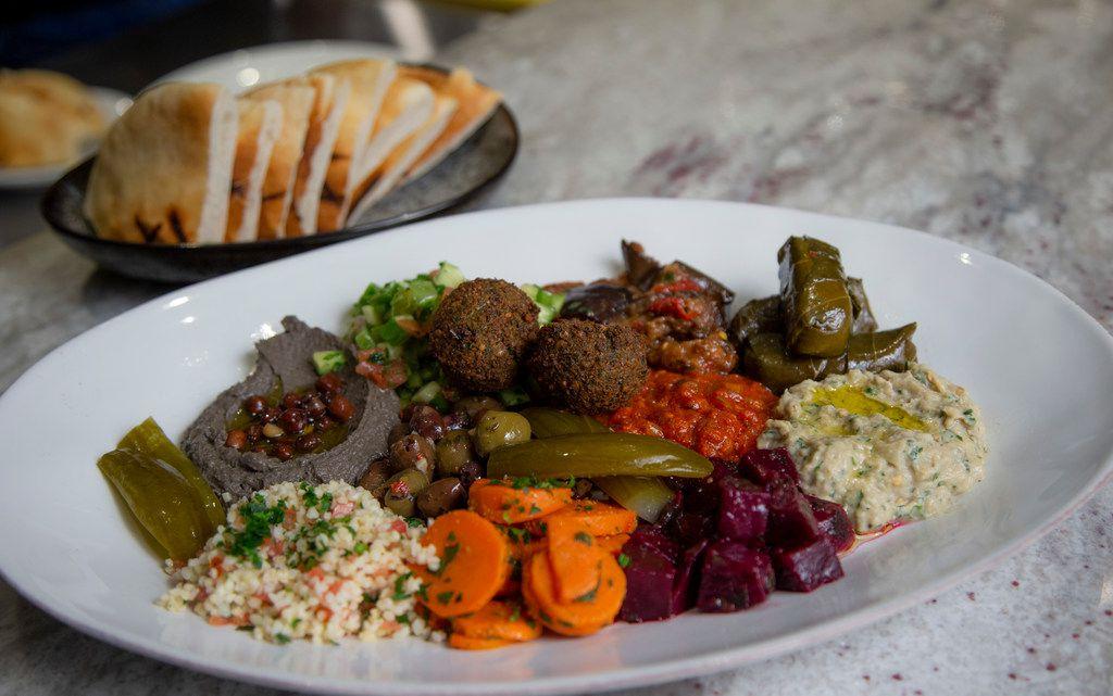 The meze platter is served at Nosh Bistro.