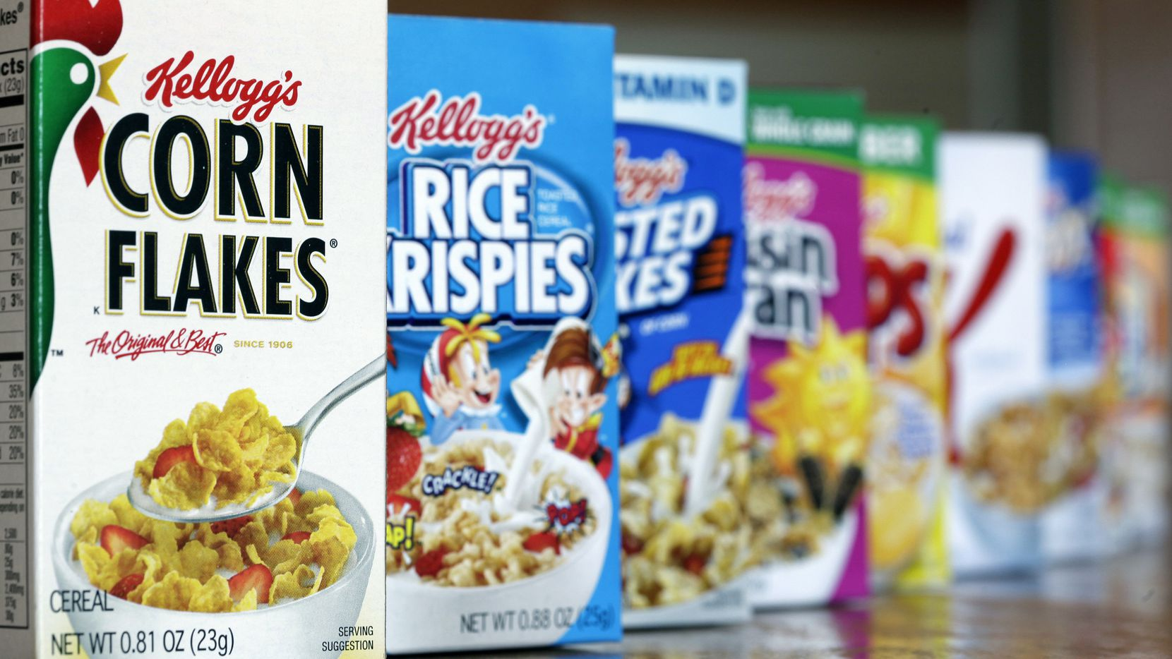 This file photo shows some of Kellogg's cereal products. The company's cereal brands account for only about a third of its revenue today