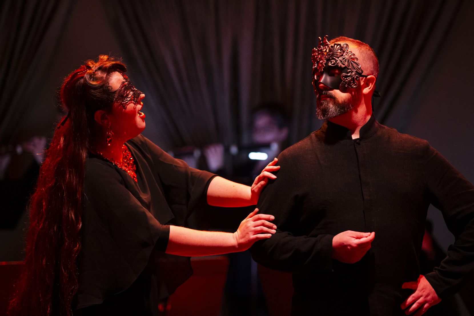 Anna Frederika Poppova (as Proserpine) and Brandon Gibson (as Pluton) perform during a dress rehearsal of American Baroque Opera Co. production of Marc-Antoine Charpentier's 'La descent d'Orphée aux enfers' at the Sammons Center for the Arts in Dallas on Oct. 31, 2019.