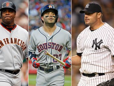 Pictured from left to right: Barry Bonds, Jose Altuve and Roger Clemens. (Photo credit left to right: AP Photo, The Dallas Morning News, Getty Images)
