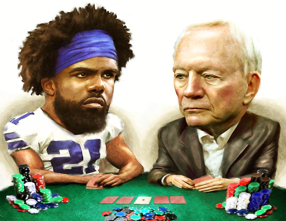 Cowboys running back Ezekiel Elliott and club owner/general manager Jerry Jones.