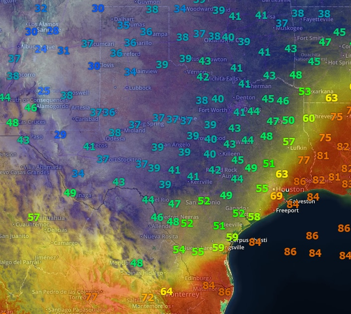 Temperature Map Texas With temperatures ranging from the 20s to the 90s, Texas felt all