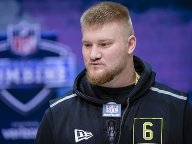 NDIANAPOLIS, IN - FEBRUARY 26: Tyler Biadasz #OL06 of the Wisconsin Badgers speaks to the media at the Indiana Convention Center on February 26, 2020 in Indianapolis. (Getty Images)
