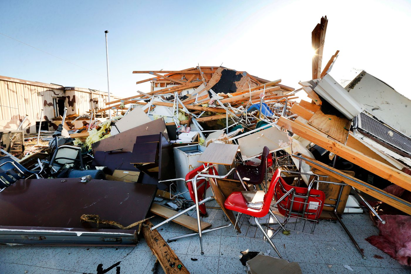 A portable building with classrooms at Cary Jr. High School in Dallas was totally destroyed by a tornado, Monday, October 21, 2019. (Tom Fox/The Dallas Morning News)
