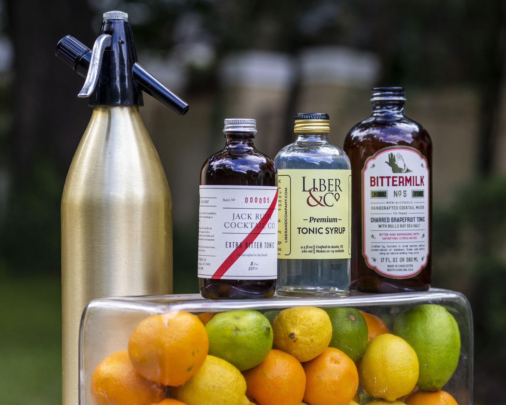Tonic syrups by Jack Rudy, Liber & Co, and Bittermilk