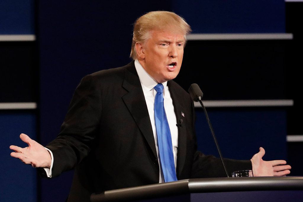 Republican presidential nominee Donald Trump answers a question during the presidential debate with Democrat Hillary Clinton at Hofstra University. (David Goldman/The Associated Press)
