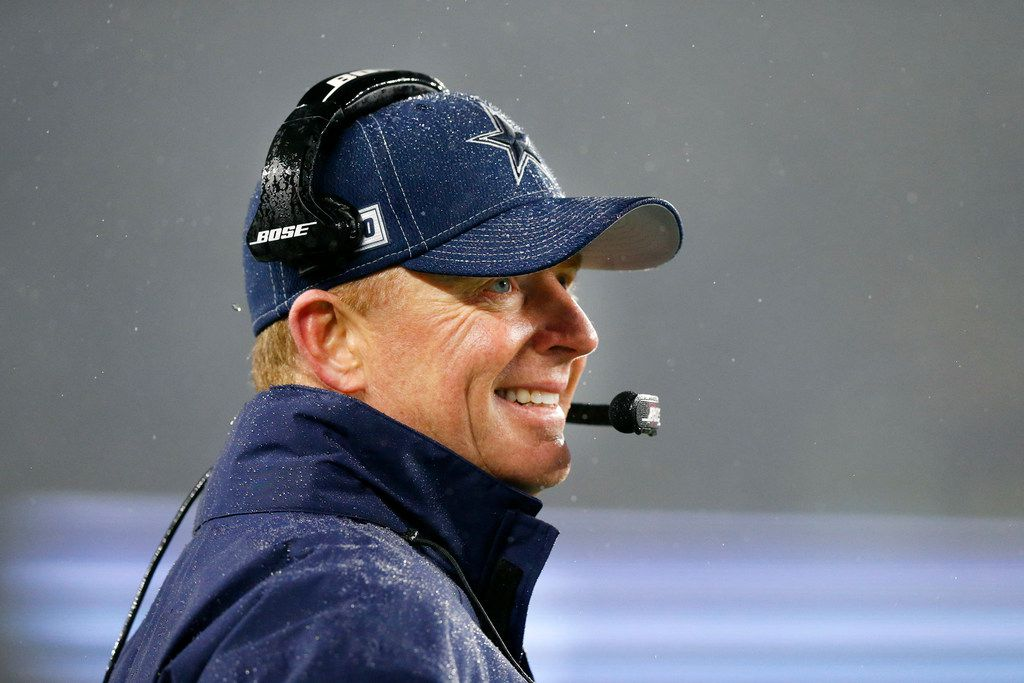 FILE - Then-Cowboys head coach Jason Garrett watches his offense against the New England Patriots at Gillette Stadium in Foxborough, Mass., on Sunday, Nov. 24, 2019.