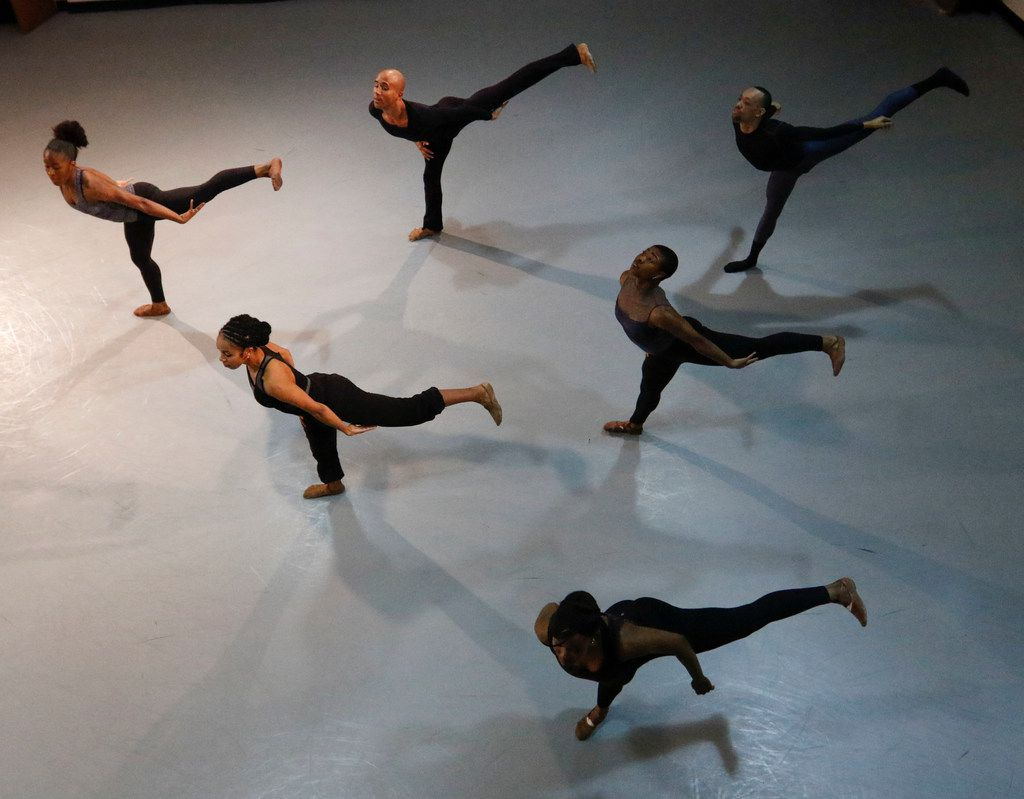 Dallas Black Dance Theatre rehearses choreographer Ray Mercer's Undeviated Passage at the company's Arts District studios. It's The Lion King cast member's third piece for DBDT, premiering at the company's upcoming Spring Celebration shows. Mercer got his professional choreographic start at DBDT with 2007's Pulse.