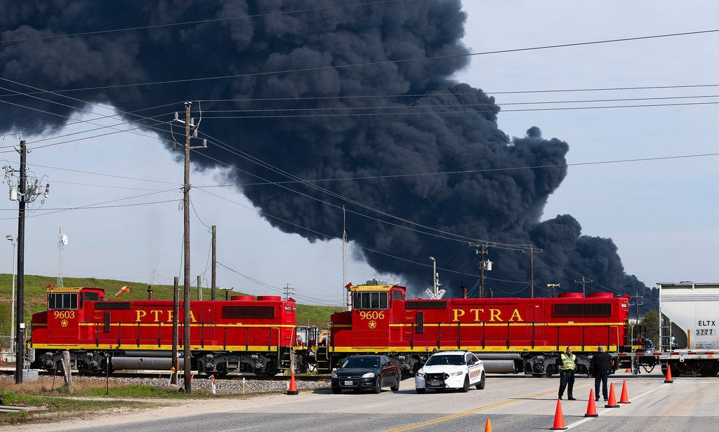 Firefighters continue to battle the petrochemical fire at Intercontinental Terminals Company, which grew in size due to a lack of water pressure last night Tuesday, March 19, 2019, in Deer Park, Texas.