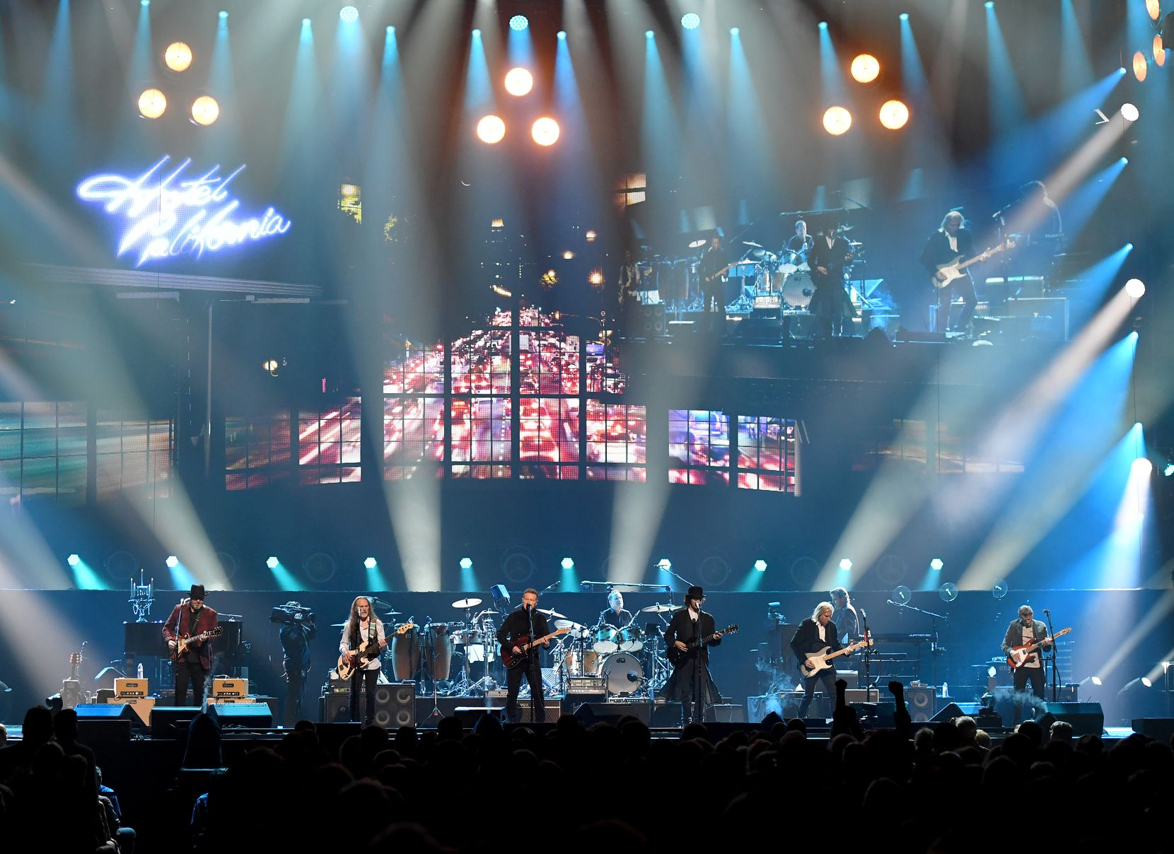 From left to right, Vince Gill, Timothy B. Schmit, Don Henley, Scott F. Crago, Deacon Frey, Joe Walsh and Steuart Smith of the Eagles perform at MGM Grand Garden Arena on Sept. 27, 2019 in Las Vegas, Nevada.