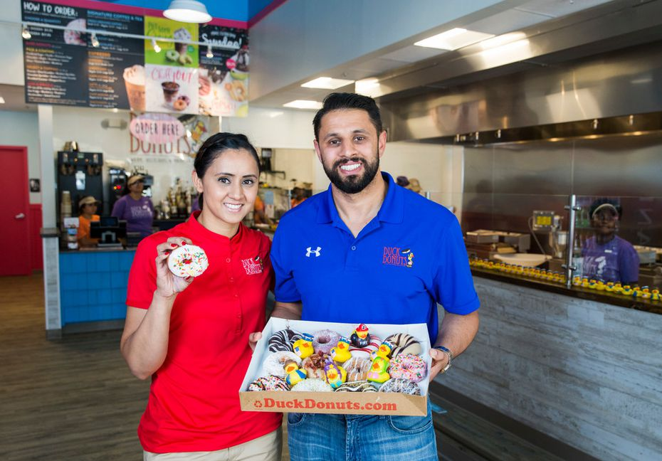 Store Manager Sunny Bassi (left) will operate Duck Donuts in Addison for owner Dr. Gary Bhatti, her brother.