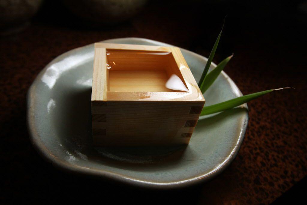 Sake served in a masu (wooden box ) at Tei Tei