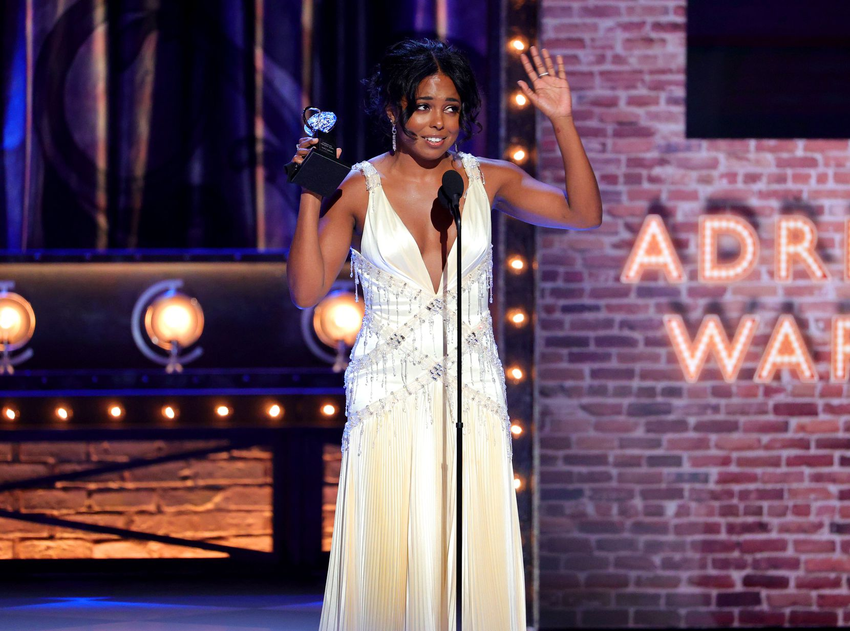 """Adrienne Warren won  best actress in a musical for """"Tina - The Tina Turner Musical"""" at  the 74th Annual Tony Awards on Sunday night. (Photo by Theo Wargo/Getty Images for Tony Awards Productions)"""