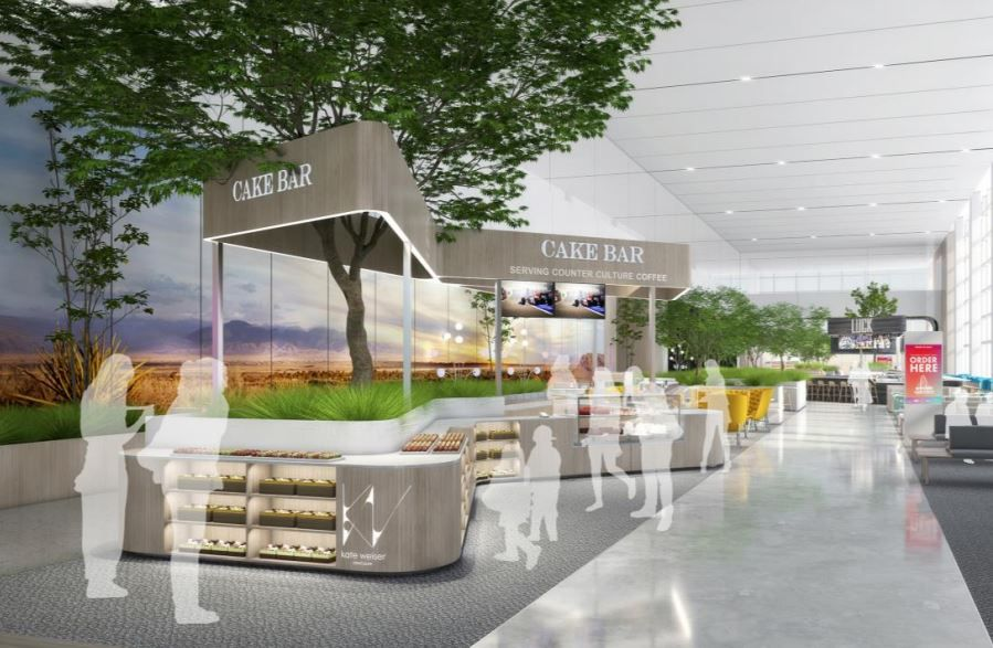 A conceptual rendering of a new Cake Bar kiosk planned for DFW International Airport.