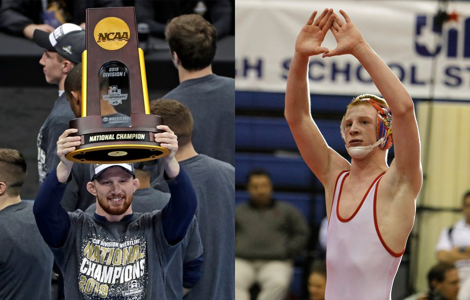 Bo Nickal holding a team championship trophy with Penn State in 2019 (left) and him winning a UIL state championship with Allen in 2012.