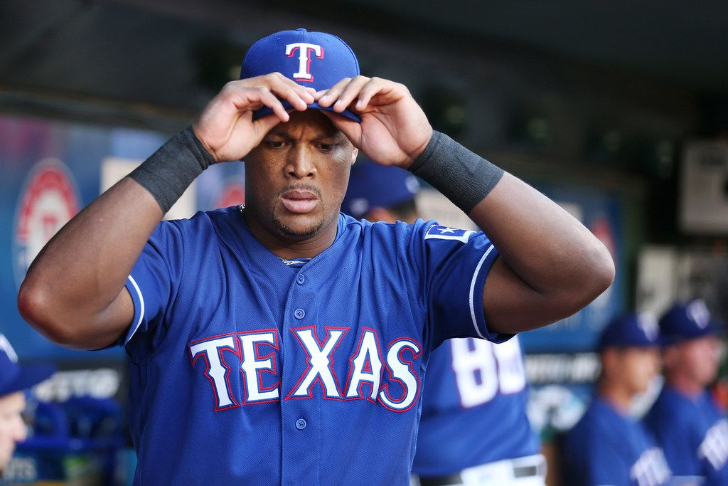 Texas Rangers third baseman Adrian Beltre (29) in the dugout before the start of a Major League Baseball game between the Detroit Tigers and the Texas Rangers at Globe Life Park in Arlington, Texas Tuesday May 8, 2018. (Andy Jacobsohn/The Dallas Morning News)