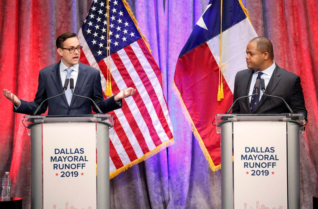 Dallas City Council member Scott Griggs (left) makes a point during his debate with State Rep. Eric Johnson, D-Dallas.  The televised one-hour debate sponsored by The Dallas Morning News, NBC5 and the Dallas Regional Chamber was held at El Centro College in downtown Dallas, Tuesday, May 14, 2019. (Tom Fox/The Dallas Morning News)