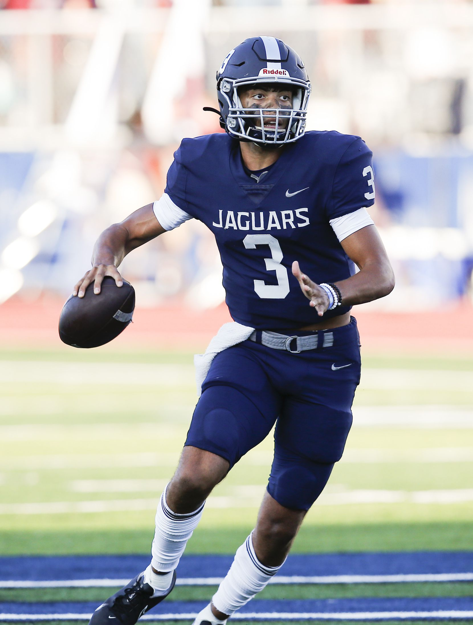 Flower Mound senior quarterback Nick Evers (3) looks for a receiver during the first half of a high school football game against Mesquite at Flower Mound High School, Friday, August 27, 2021. (Brandon Wade/Special Contributor)
