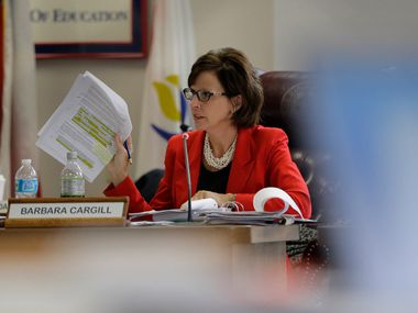Texas Board of Education chair Barbara Cargill leads the groups meeting,Thursday, Nov. 21, 2013, in Austin, Texas.(AP Photo/Eric Gay)