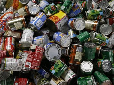 Donated canned goods at North Texas Food Bank on Friday, Dec. 11, 2020 in Plano, Texas.