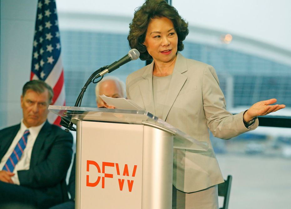 Secretary of Transportation Elaine Chao talked about the airport improvement grants as she presented a letter of intent for DFW Airport infrastructure improvements, including end-around taxiways, during a news conference at the airport on Friday. (Photo pool/Louis DeLuca/The Dallas Morning News)