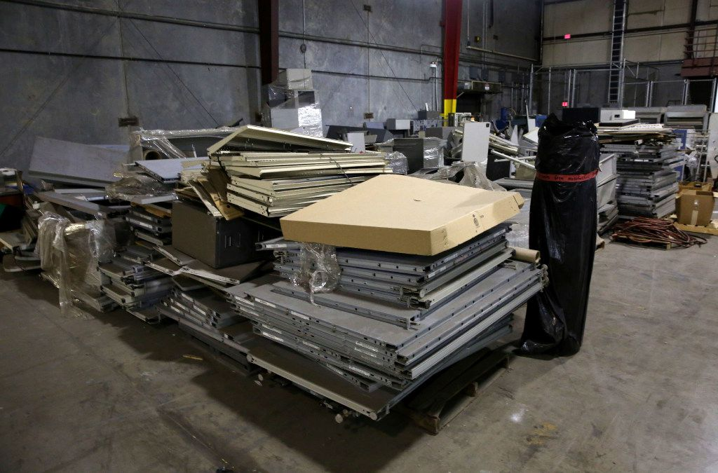 Stacks of unused cubicles sat in the warehouse at the Prestige Ameritech manufacturing plant in North Richland Hills in 2017.