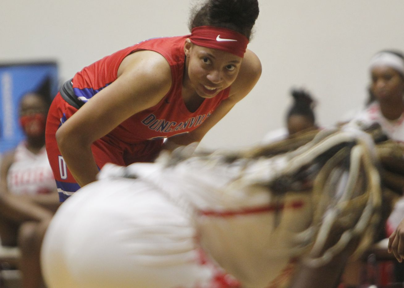 Duncanville forward Zaria Rufus (12) takes a breather as she awaits a teammate to put up a shot at the free throw line during first half action against Mesquite Horn. Duncanville won 82-52 to advance. The two teams played their Class 6A area-round playoff basketball game at Loos Field House in Addison on February 23, 2021. (Steve Hamm/ Special Contributor)