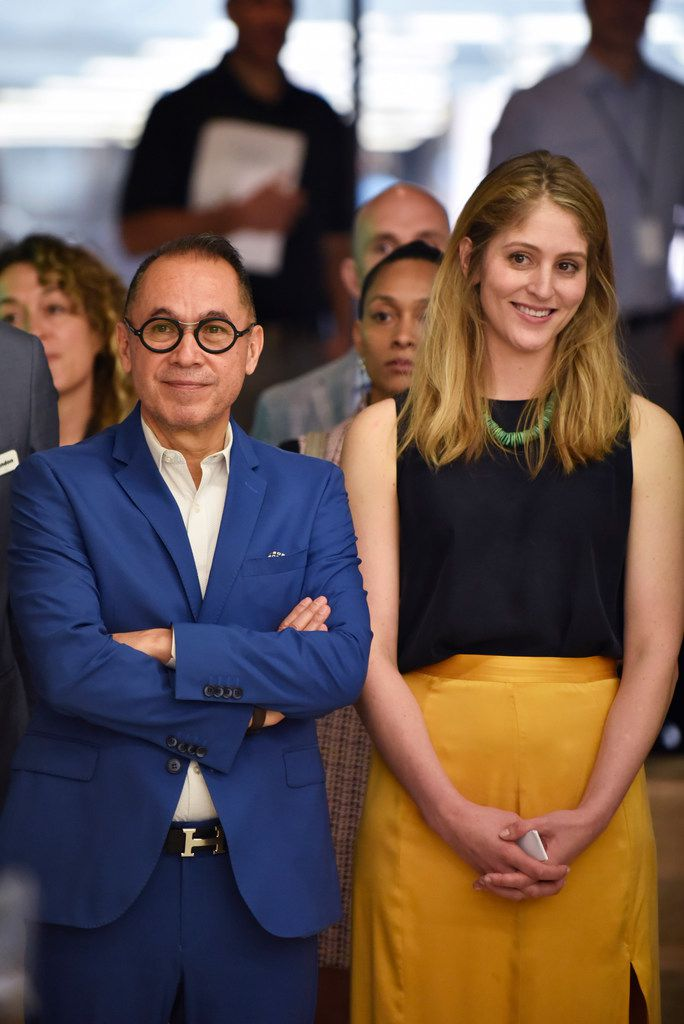 Agustín Arteaga, Eugene McDermott director of the Dallas Museum of Art, and Dallas Art Fair director Kelly Cornell listen to speakers during the announcement of the fourth annual Dallas Art Fair Foundation Acquisition Program, on April 11, 2019, at the Fashion Industry Gallery in downtown Dallas.
