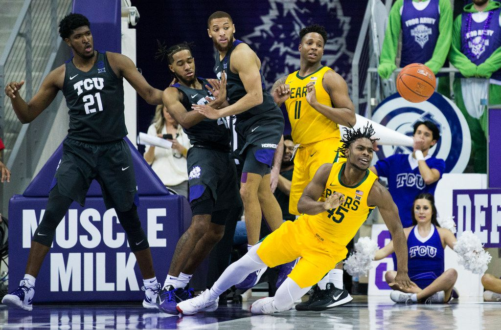 Baylor Bears guard Davion Mitchell (45) loses control of the ball during the second half of an NCAA mens basketball game between Baylor and TCU on Saturday, February 29, 2020 at Ed & Rae Schollmaier Arena on the TCU campus in Fort Worth. (Ashley Landis/The Dallas Morning News)