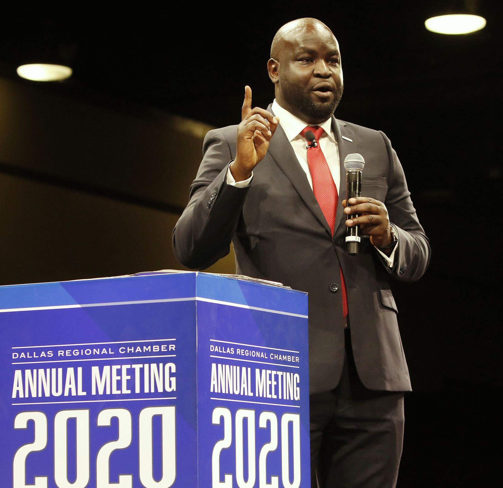 John Olajide gives his inaugural address as chairman of the Dallas Regional Chamber at its annual meeting in January.
