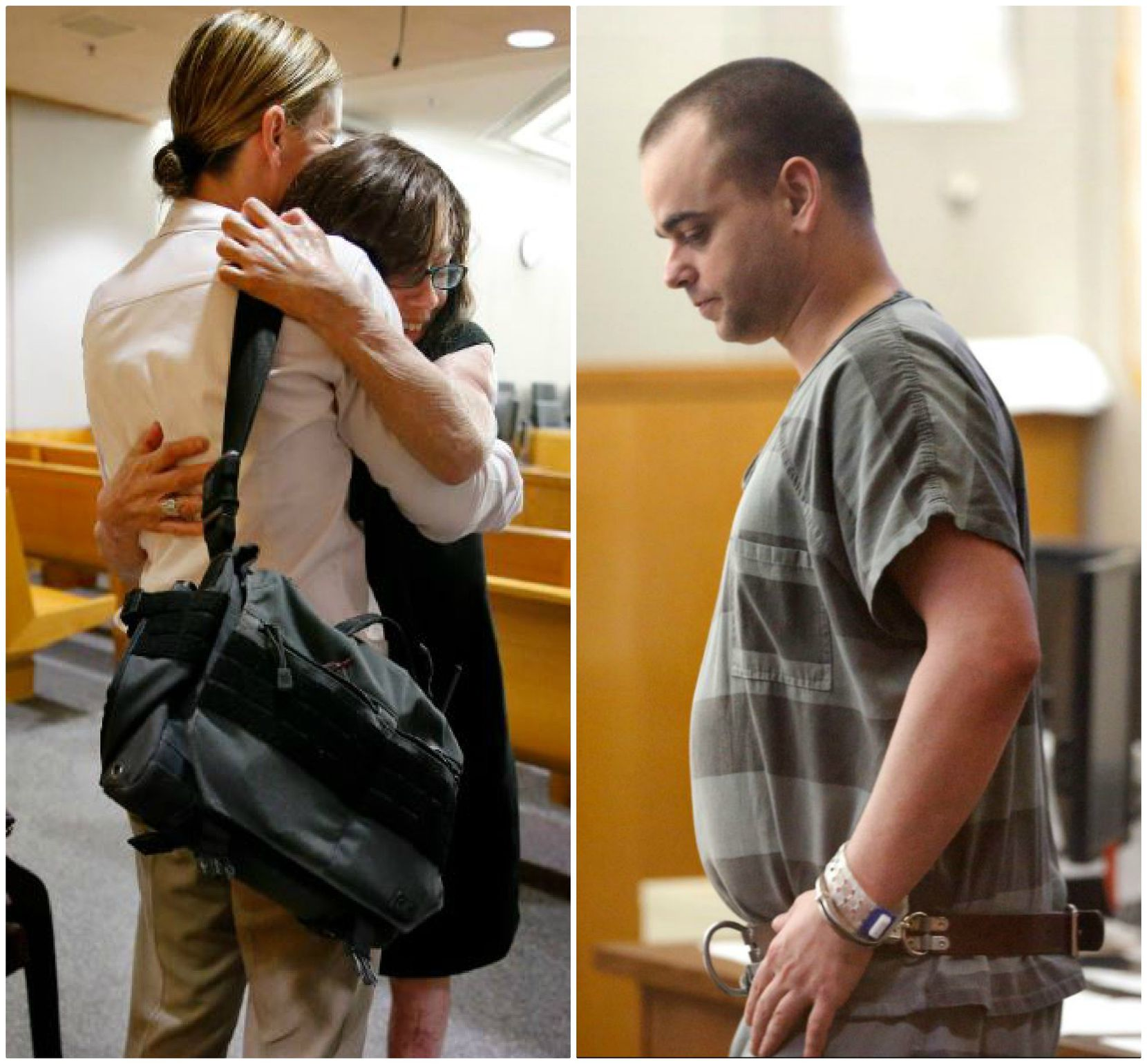 Danyeil Townzen (left) was hugged at the sentencing hearing for her ex-boyfriend, Matthew Gerth (right). Gerth was sentenced to life in prison Sept. 13 for setting Townzen on fire outside a Dallas apartment in 2018.