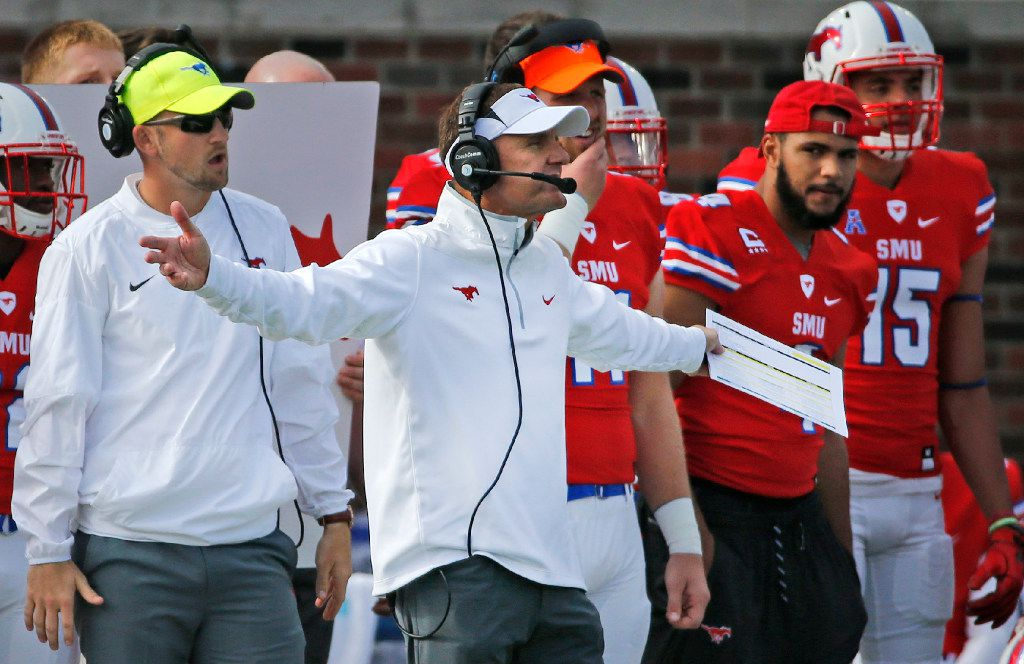 SMU head coach Chad Morris is pictured on the sidelines in the first quarter during the University of Memphis Tigers vs. the SMU Mustangs NCAA football game at Gerald J. Ford Stadium in Dallas on Saturday, November 5, 2016. (Louis DeLuca/The Dallas Morning News)
