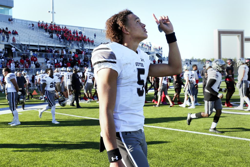 Guyer quarterback Eli Stower points to the sky in celebration after their 35-17 win against Spring Westfield after their 6A Div. 2 state semi-final game Saturday, Dec. 14, 2019 at the Sheldon ISD Panther Stadium in Houston, TX.