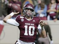 Texas A&M quarterback Zach Calzada (10) looks to pass against UTSA during the fourth quarter of an NCAA college football game, Saturday, Nov. 2, 2019, in College Station, Texas.