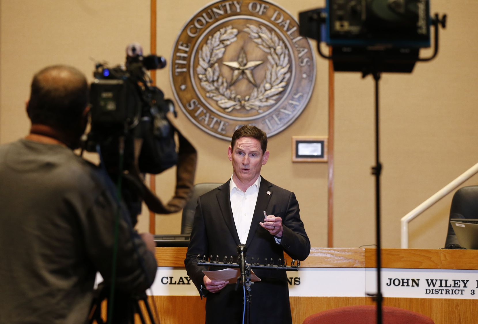 Dallas County Judge Clay Jenkins spoke during a news conference updating an amended order for the COVID-19 response at the Dallas County Administration Building on March 21, 2020.