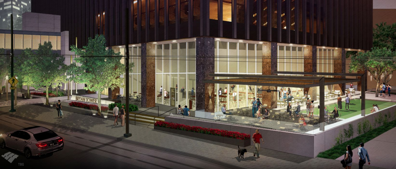 A pending redo at downtown Dallas' landmark Bryan Tower will add outdoor gathering and event spaces and new retail and restaurant spots inside the 45-year-old high-rise.