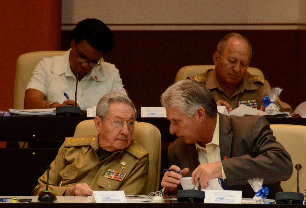 Cuban president Raul Castro and Cuban First Vice president Miguel Diaz-Canel talk during the 10th and last regular session of the eighth Legislature of the National Assembly of Popular Power, at the Convention Palace in Havana, on Dec. 21, 2017. Cuban President Raul Castro will step down in April 2018 after elections that same month to choose his successor. The elections will now take place on April 19. Castro, 86, will hand over power shortly afterward to the president-elect.