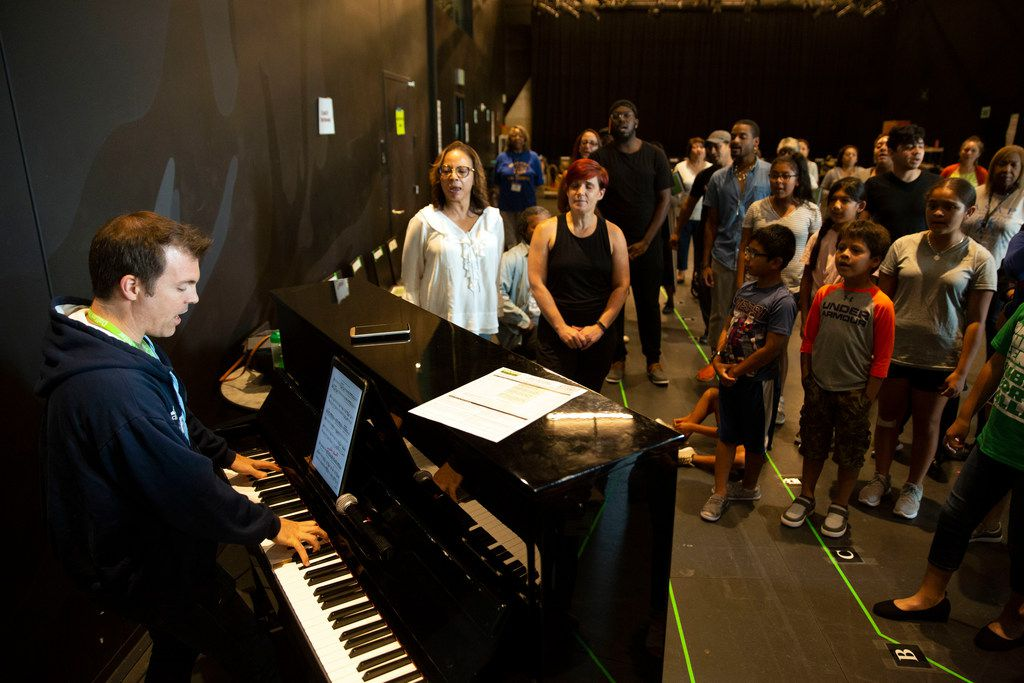 Jesse Fry plays piano during rehearsals of the Dallas Theater Center/Public Works Dallas production of As You Like It at the Wyly Theatre in Dallas on Aug. 6, 2019. (Allison Slomowitz/Special Contributor)