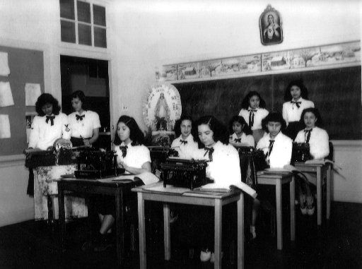 Typing class at St. Ann's High School in LIttle Mexico.