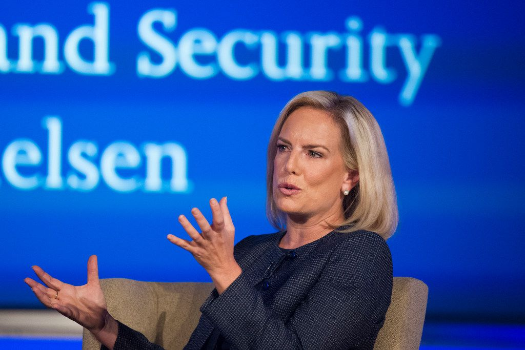 Secretary of Homeland Security Kirstjen Nielsen speaks to George Washington University's Center for Cyber and Homeland Security, in Washington, Wednesday, Sept. 5, 2018. The Trump administration is planning to issue new rules to circumvent a longstanding court agreement on how children are treated in immigration custody. That means families will be kept in detention longer