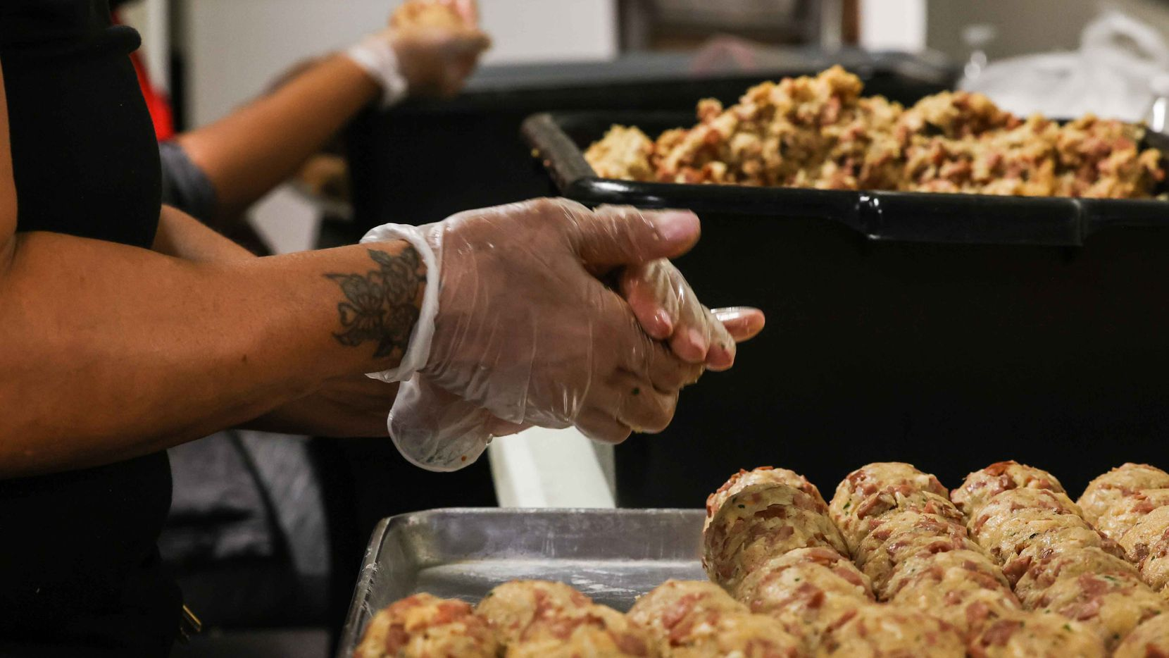 Teams of five to 10 people work shifts 24 hours a day to pre-make 100,000 gumbo balls before the State Fair of Texas.