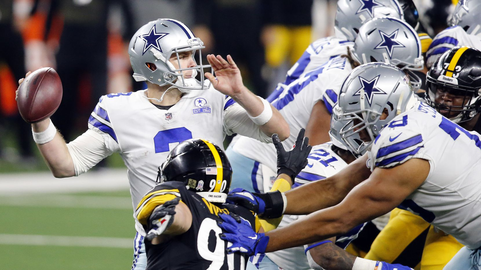 Dallas Cowboys quarterback Garrett Gilbert (3) throws from the pocket as he gets blocking from his lineman against the Pittsburgh Steelers in the fourth quarter at AT&T Stadium in Arlington, Texas Sunday, November 8, 2020. The Cowboys lost, 24-19.