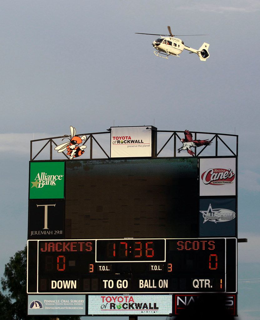 Dallas Cowboy's owner Jerry Jones brings his helicopter to Wilkerson-Sanders Stadium before the start of a high school football game Highland Park Vs. Rockwall high school in Rockwall on Friday, August 30, 2019. (John F. Rhodes / Special Contributor)