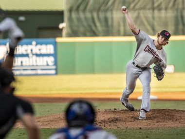 Hickory Crawdad's pitcher Zak Kent (11) pitches against the Greensboro Grasshoppers at First National Bank Field on Thursday, August 5, 2021 in Greensboro, N.C.