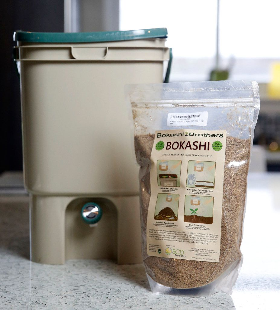A bokashi compost bucket and bran kit from Bokashi Brothers at the Texas AgriLife Research Center.