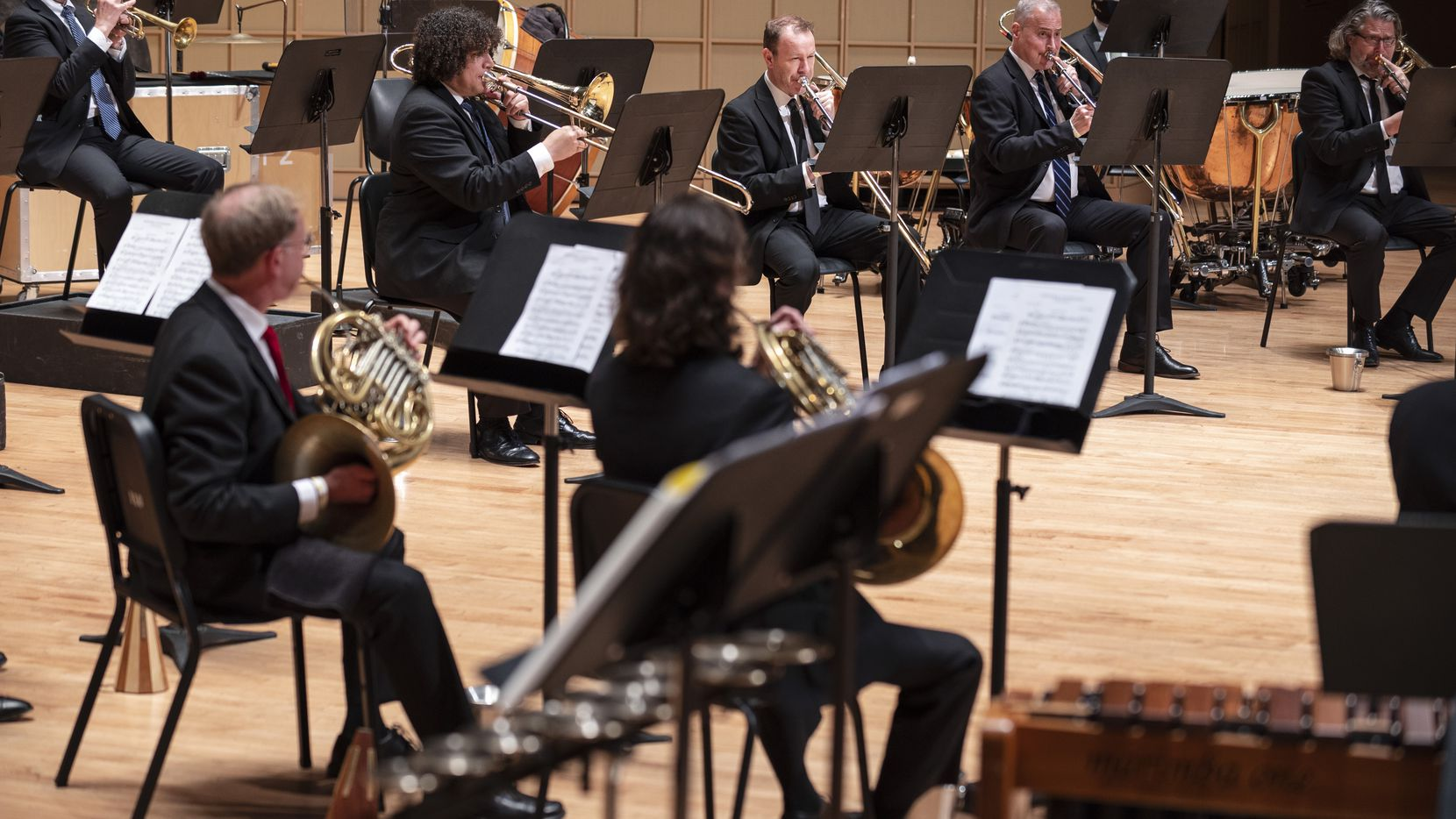 Members of the Dallas Symphony Orchestra and Metropolitan Opera Orchestra perform at the Morton H. Meyerson Symphony Center in Dallas, on May 3. This concert benefitted the MET Orchestra Musicians Fund and the Dallas-Fort Worth Musicians COVID-19 Relief Fund.